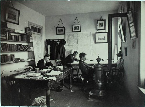 men working in small office 1800s