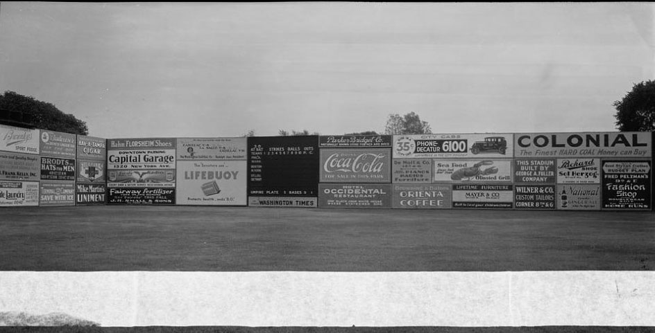 advertising at baseball field 1900s